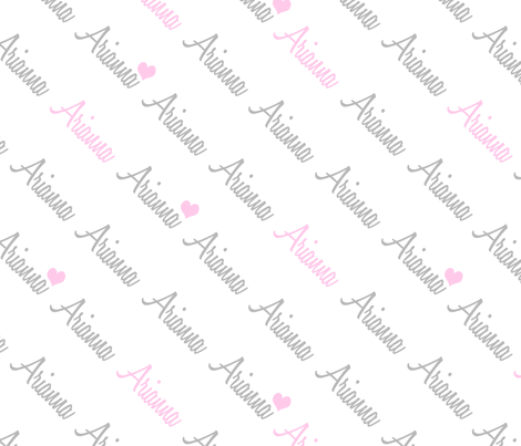 Personalised Name Fabric - Diagonal Pink Grey fabric by shelleymade on Spoonflower - custom fabric