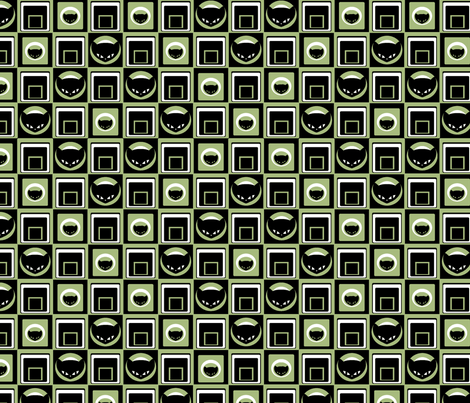 Kitty Geometric in Green fabric by lovekittypink on Spoonflower - custom fabric