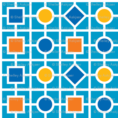Geometric print - robot colors