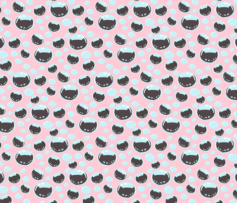 Little Pink Kitty Bubbles fabric by lovekittypink on Spoonflower - custom fabric