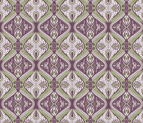 Dacia (Green and Violet) fabric by siya on Spoonflower - custom fabric