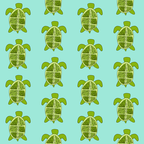 Aqua Turtle fabric by olioh on Spoonflower - custom fabric