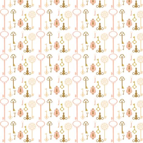 Keys pink fabric by handmaid on Spoonflower - custom fabric