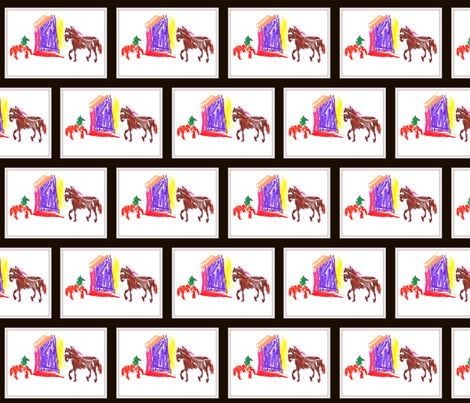 Horses at school fabric by anniedeb on Spoonflower - custom fabric