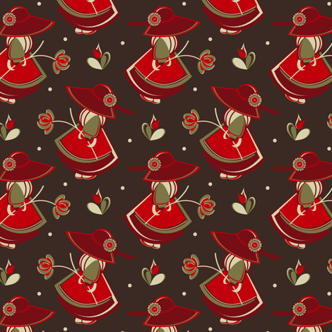 The Red Flower Girl fabric by eppiepeppercorn on Spoonflower - custom fabric