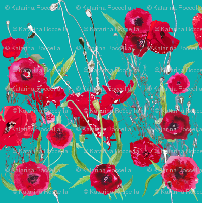 poppy fields in teal