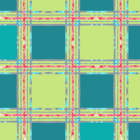 aqua_teal_plaid_green fabric by katarina on Spoonflower - custom fabric