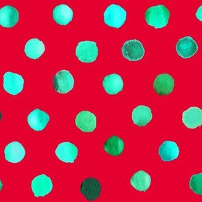 watercolor dots red green