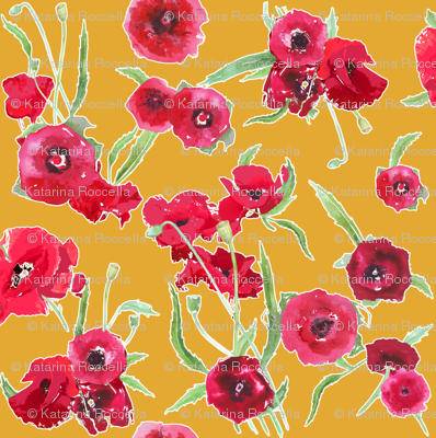 poppy floral yellow contour