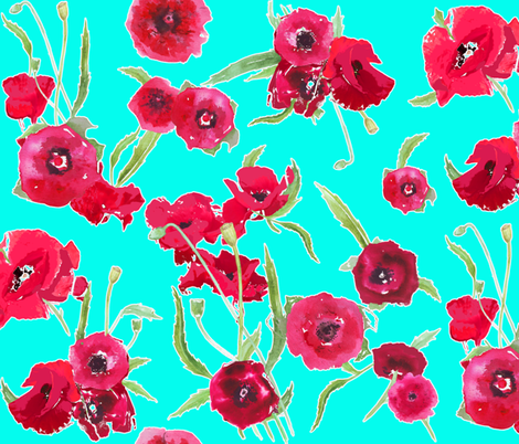 poppy_aqua_contour fabric by katarina on Spoonflower - custom fabric