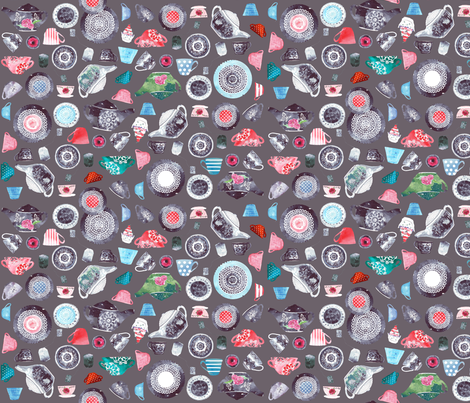 tea time in gray fabric by katarina on Spoonflower - custom fabric