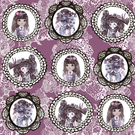 lace_tile_black_with_cameos_purple fabric by katarina on Spoonflower - custom fabric