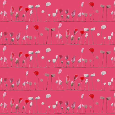 watercolor poppies stripe coral fabric by katarina on Spoonflower - custom fabric