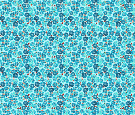 watercolor blue floral tile fabric by katarina on Spoonflower - custom fabric