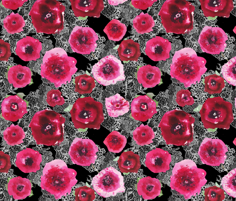 watercolor poppies on black lace fabric by katarina on Spoonflower - custom fabric