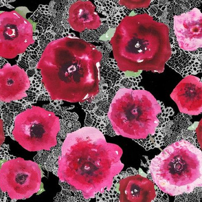 watercolor poppies on black lace