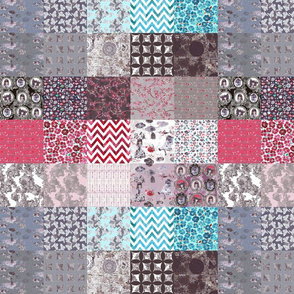wonderland tiles in patchwork cheater quilt