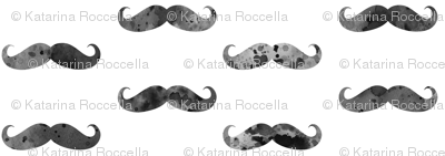 watercolor mustache black and white