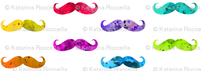 watercolor rainbow mustaches