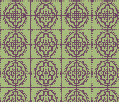 Bumpy Wonky Moroccan Tile (Sage & Plum) fabric by pattyryboltdesigns on Spoonflower - custom fabric