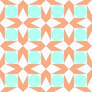 octagon spot (aqua & salmon)