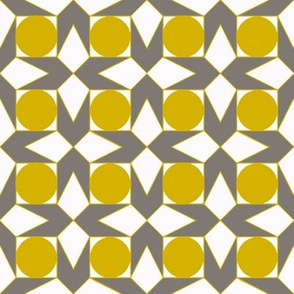 octagon spot (mustard & taupe)
