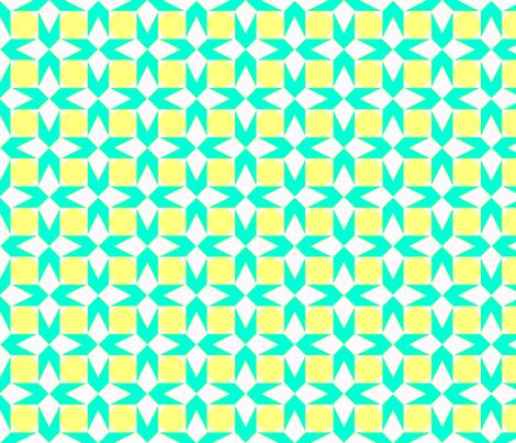 octagon spot (aqua & lemon) fabric by wednesdaysgirl on Spoonflower - custom fabric
