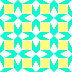 octagon spot (aqua & lemon)