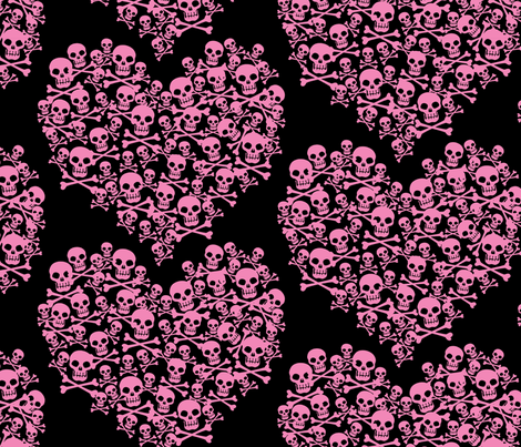 Skull Heart Large Pink On Black fabric by ophelia on Spoonflower - custom fabric