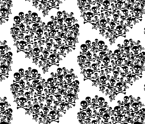 Skull Heart Large Black On White fabric by ophelia on Spoonflower - custom fabric