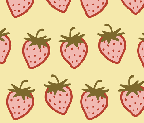 Cutie Strawberry Pattern Large fabric by ophelia on Spoonflower - custom fabric