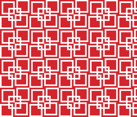 Wobble Lattice Pattern - White On Red fabric by ophelia on Spoonflower - custom fabric