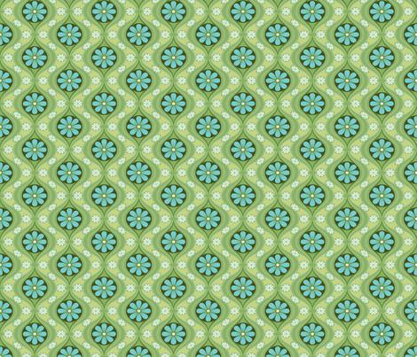 Retro Petite Daisy in Sea of Green fabric by bradbury_&_bradbury on Spoonflower - custom fabric