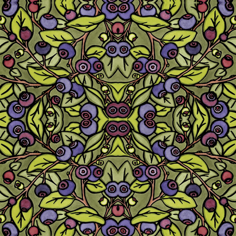Huckleberries Mirror fabric by sarah_angst_arts on Spoonflower - custom fabric