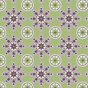 Green and purple geometric design