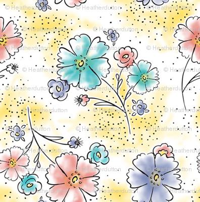 Brilliant  Blooms - Vintage Watercolor Floral Yellow