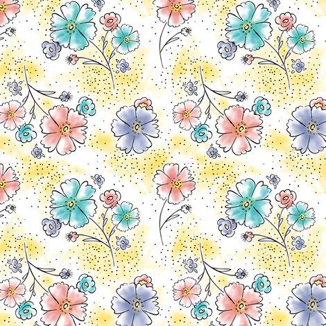 Brilliant  Blooms - Vintage Watercolor Floral Yellow fabric by heatherdutton on Spoonflower - custom fabric