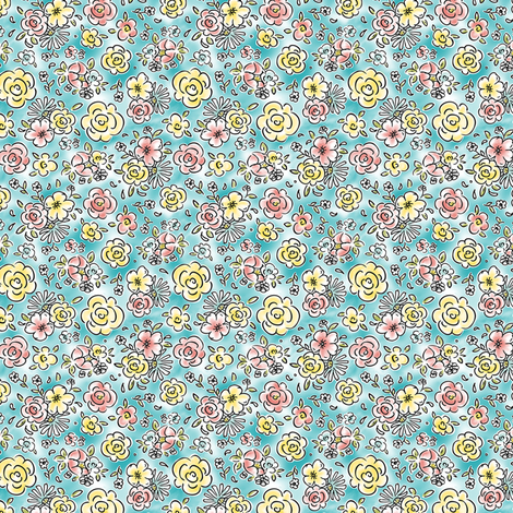 Dainty Details - Watercolor Floral Blue fabric by heatherdutton on Spoonflower - custom fabric