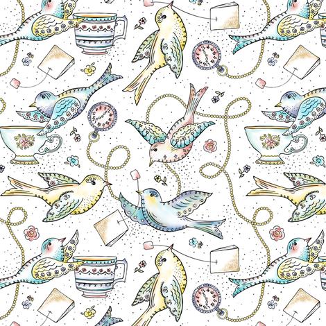 Twittering Tea Party - Watercolor Birds fabric by heatherdutton on Spoonflower - custom fabric