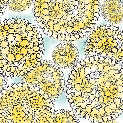 Delightful Doilies - Feminine Lace Yellow & Blue fabric by heatherdutton on Spoonflower - custom fabric