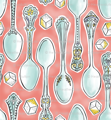 Spoonful of Sugar - Watercolor Kitchen Pink