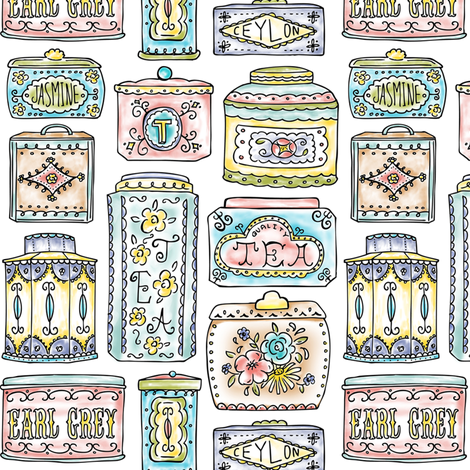 Tea Tins - Vintage Tea Lover Watercolor fabric by heatherdutton on Spoonflower - custom fabric