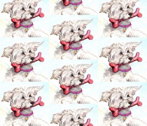 DOG WITH BONE-ed fabric by cfishdesign on Spoonflower - custom fabric