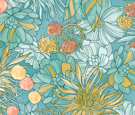 Garden at twilight fabric by cjldesigns on Spoonflower - custom fabric