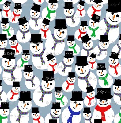 Snowmen dancing on blue