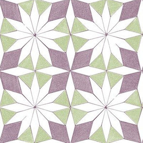 pattern blocks - star and cross - purple and green