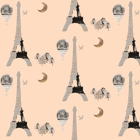 Eiffel Tower on Peach fabric by karenharveycox on Spoonflower - custom fabric