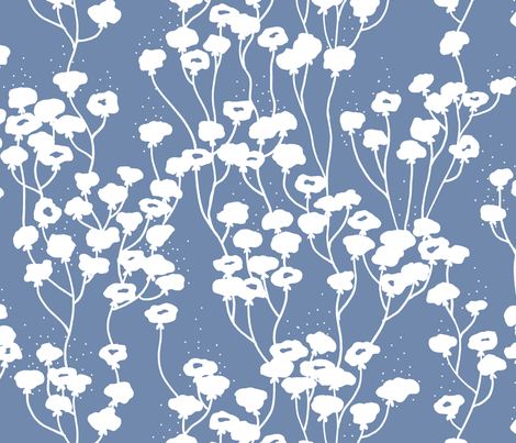White flowers #7788AA fabric by hugo_lamarox on Spoonflower - custom fabric