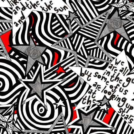 Starshine Wilde and Lennon Red fabric by glanoramay on Spoonflower - custom fabric