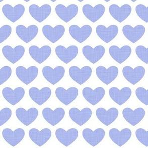 linen hearts - blue on white